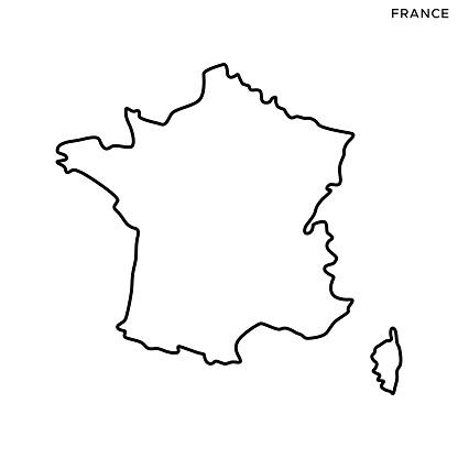 France Outline Map Vector Stock Illustration Design Template. Editable Stroke. Vector eps 10.