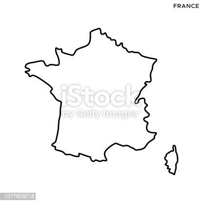 istock France Map Vector Stock Illustration Design Template. Editable Stroke. 1277625213