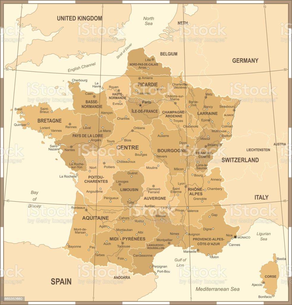 France Map Vintage Vector Illustration Stock Vector Art More