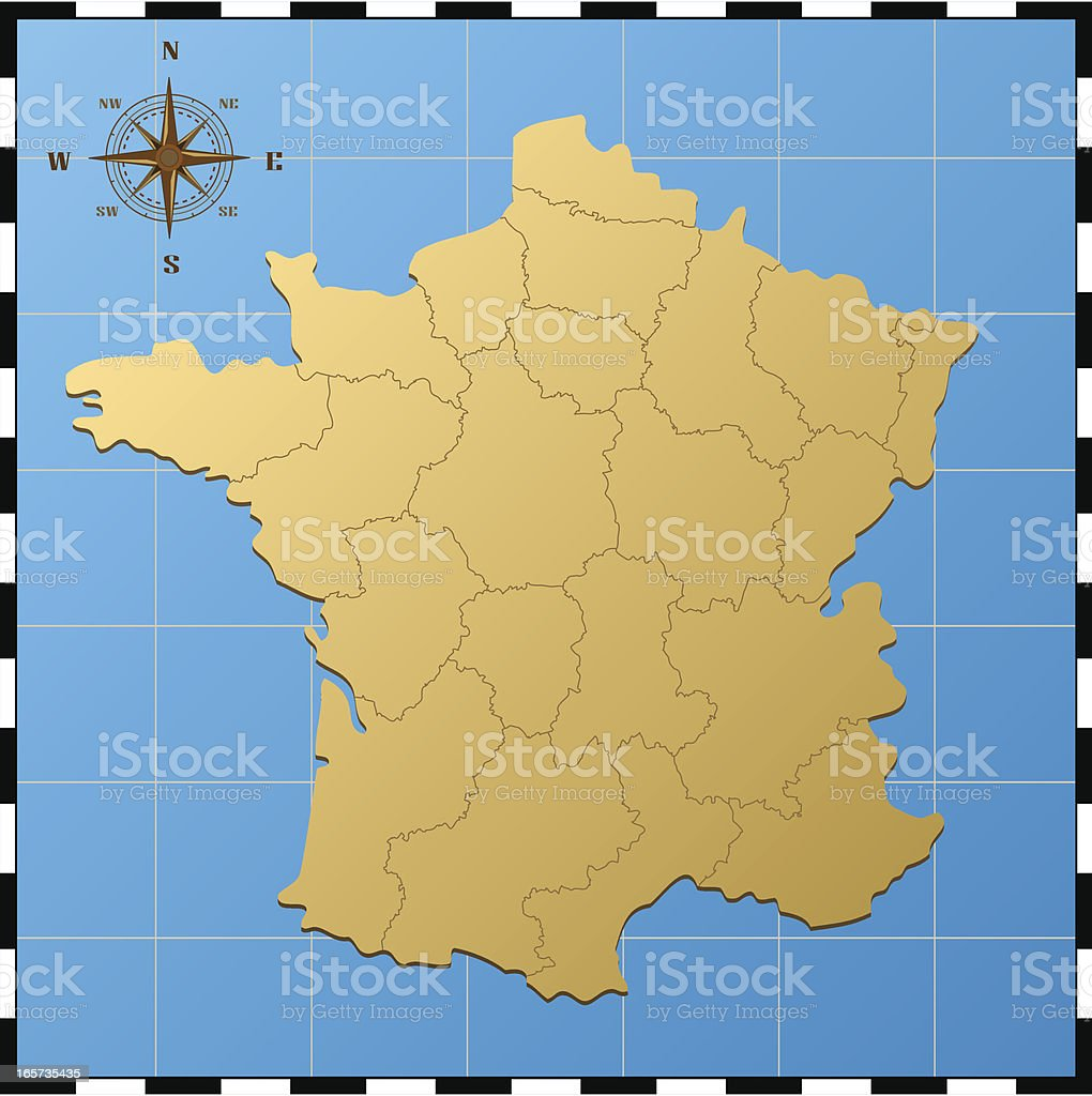 Picture of: France Map With Compass Rose Stock Illustration Download Image Now Istock