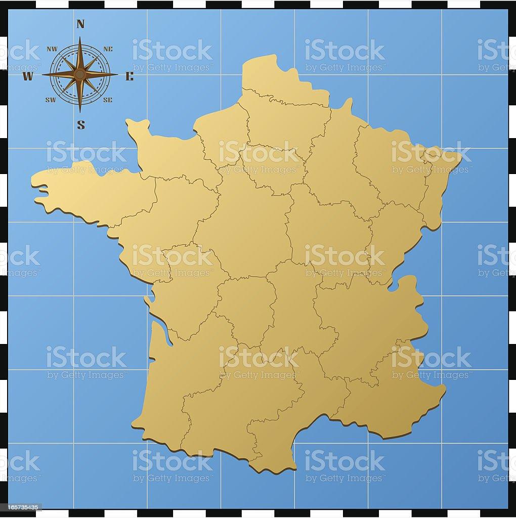 Carte De France Avec Rose Des Vents – Cliparts vectoriels et plus
