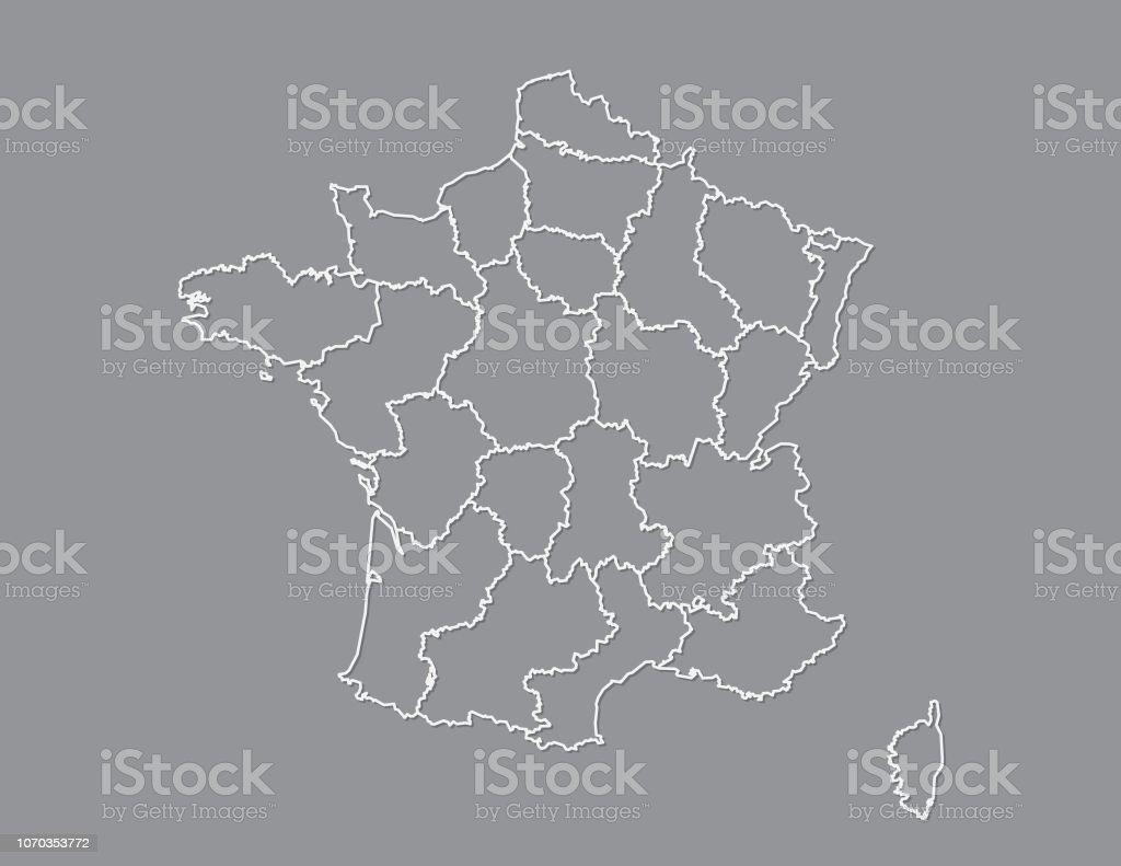 Frankreich Karte Regionen.Frankreichkarte Mit Verschiedenen Regionen Mit Weißen Linien Auf