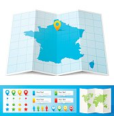 Map of France folded with design elements, isolated on white background.