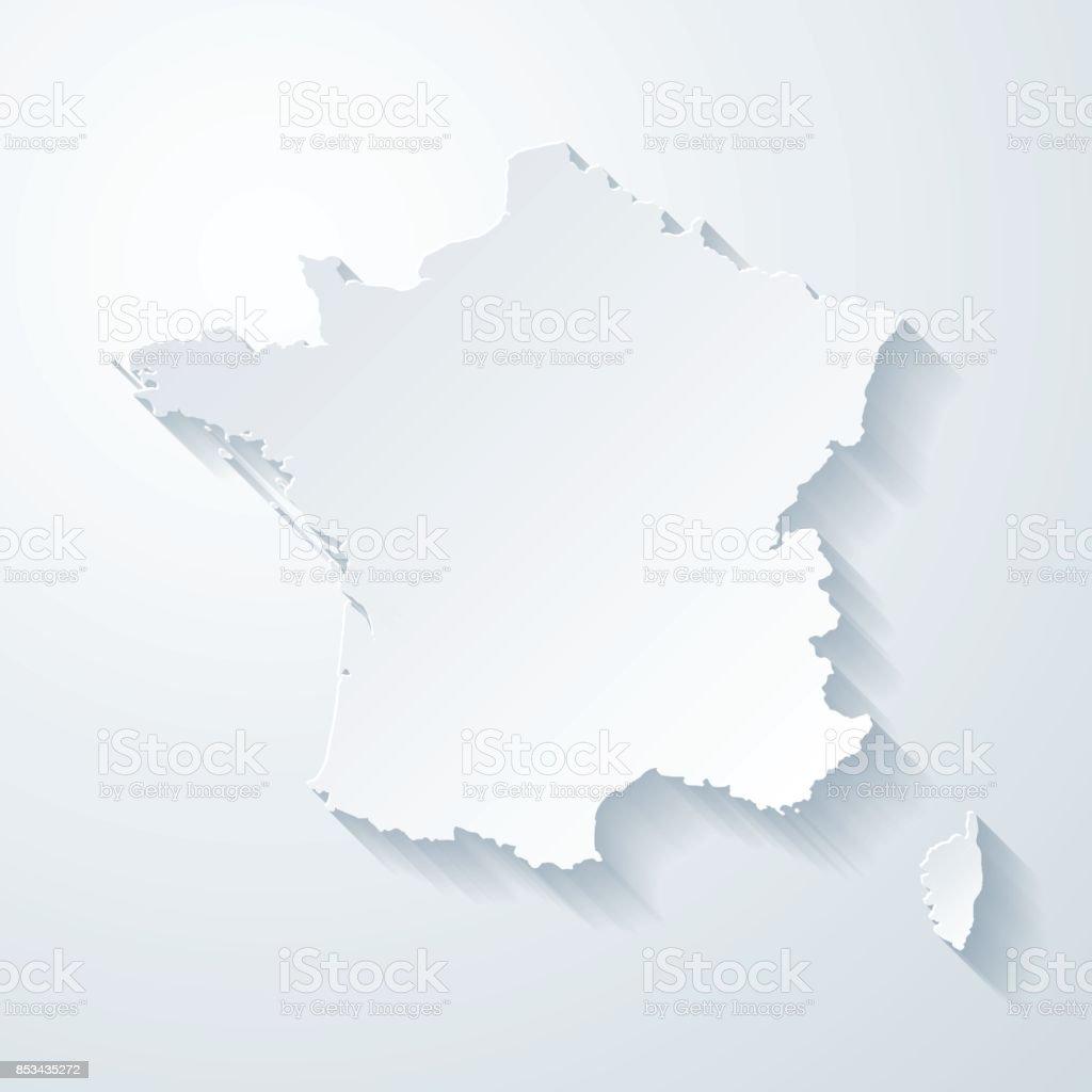 Carte Corse Fond Blanc.Carte De France Avec Papier Coupe Effet Sur Fond Blanc