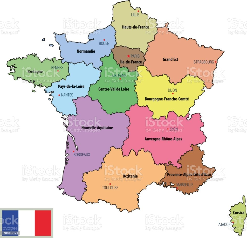 France Map With Regions.France Map With Regions And Their Capitals Stock Vector Art More