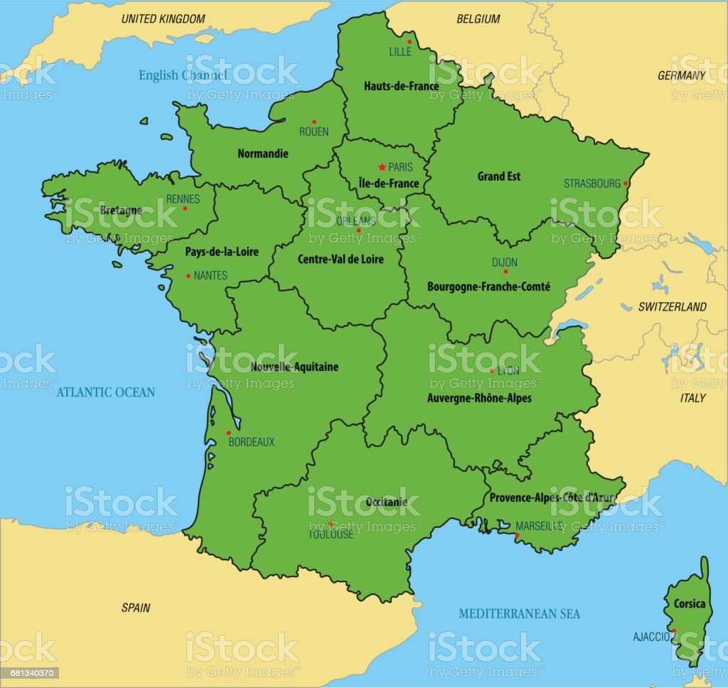 France map with regions and their capitals vector art illustration