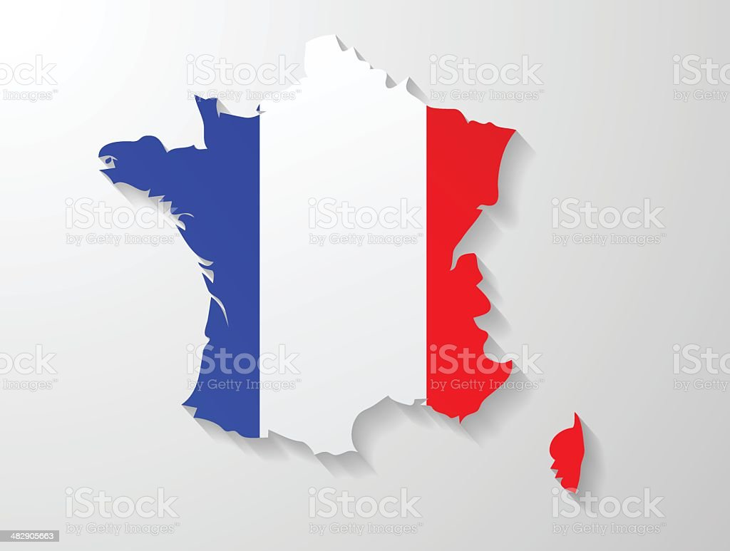 France map with shadow effect vector art illustration
