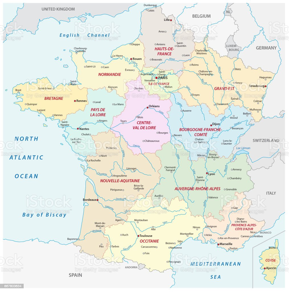 France Map With Regions.France Map With The New Regions And The Most Important Cities And