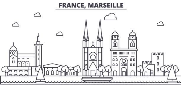 stockillustraties, clipart, cartoons en iconen met frankrijk, marseille het platform lijn skyline illustratie. lineaire vector stadsgezicht met beroemde bezienswaardigheden, de bezienswaardigheden van de stad, iconen ontwerp. landschap met bewerkbare lijnen - marseille