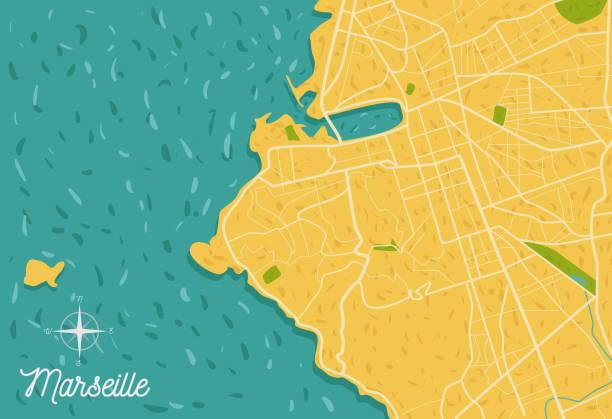 stockillustraties, clipart, cartoons en iconen met frankrijk-marseille stad routekaart vectorillustratie - marseille