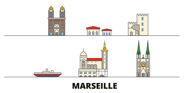 stockillustraties, clipart, cartoons en iconen met frankrijk, marseille platte oriëntatiepunten vector illustratie. frankrijk, marseille lijn stad met beroemde reizen bezienswaardigheden, skyline, design. - marseille