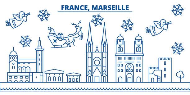 stockillustraties, clipart, cartoons en iconen met frankrijk, de skyline van de stad van de winter van marseille. vrolijk kerstfeest, gelukkig nieuwjaar versierd banner met santa claus.winter lijn wenskaart. vlakke, overzicht vector. lineaire kerst sneeuw illustratie - marseille
