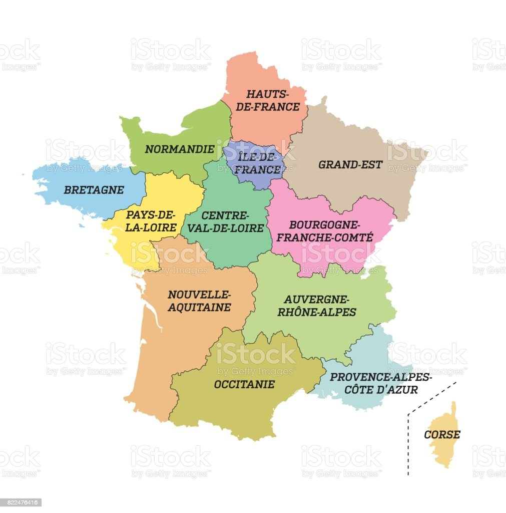 Frankreich Karte Regionen.Metropolitan Frankreich Karte Mit Neuen Regionen Stock Vektor Art