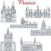 France Nievre, Guerande vector architecture icons