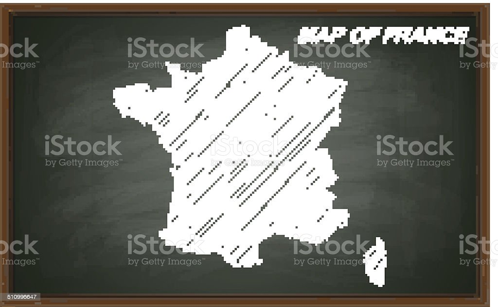 image of France on blackboard. Transparency effects used.