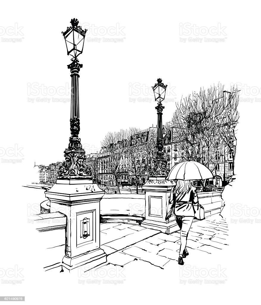 France - Paris, Pont Neuf under the rain Lizenzfreies france paris pont neuf under the rain stock vektor art und mehr bilder von alt