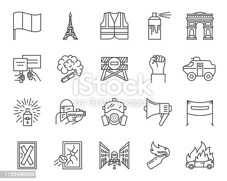 France Paris thin line icons set. Outline sign kit of political protest. People demonstrating linear icons of yellow vests, street riot, manifestation. Conflict simple symbol. Vector Illustration