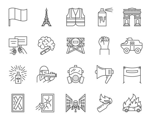 France Paris simple black line icons vector set France Paris thin line icons set. Outline sign kit of political protest. People demonstrating linear icons of yellow vests, street riot, manifestation. Conflict simple symbol. Vector Illustration police meeting stock illustrations