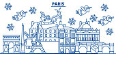France, Paris winter city skyline. Merry Christmas, Happy New Year decorated banner with Santa Claus.Winter greeting line card.Flat, outline vector. Linear christmas snow illustration