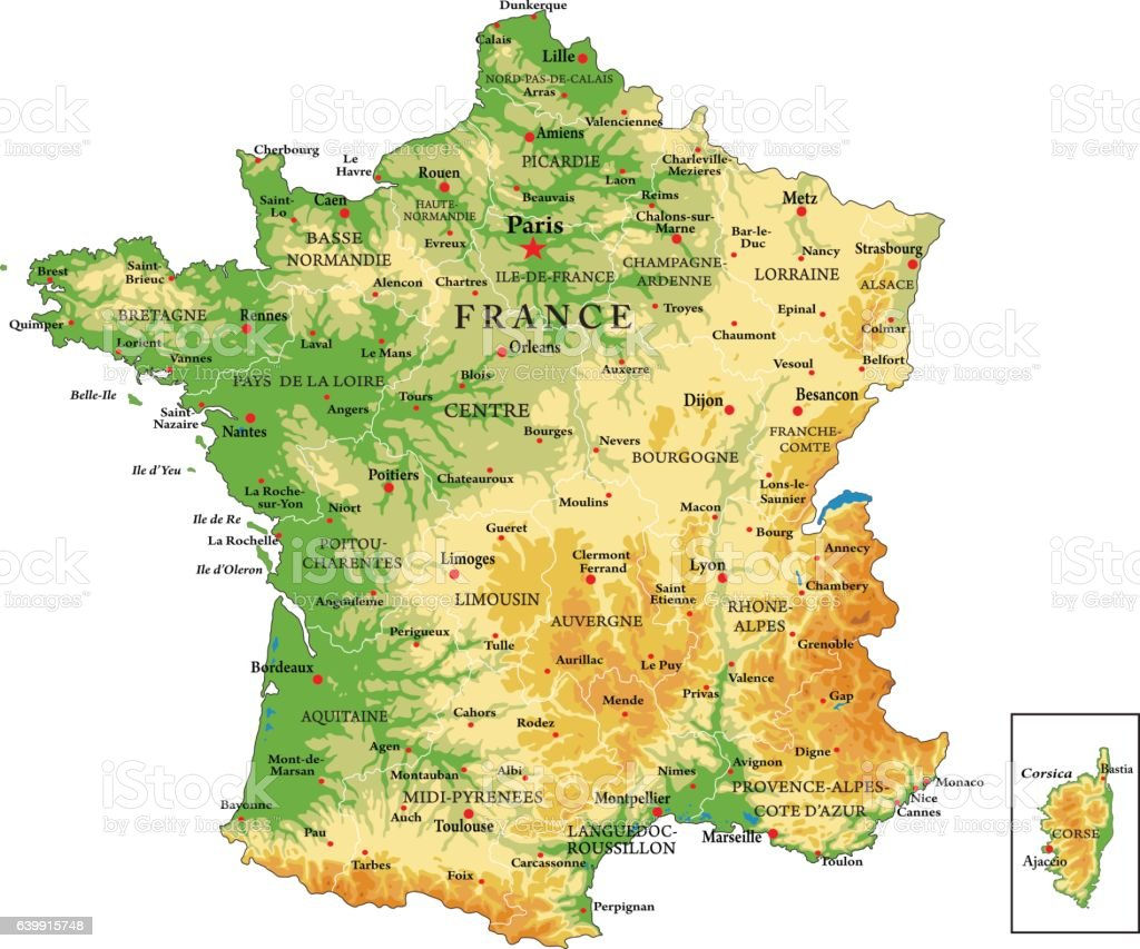France physical map vector art illustration