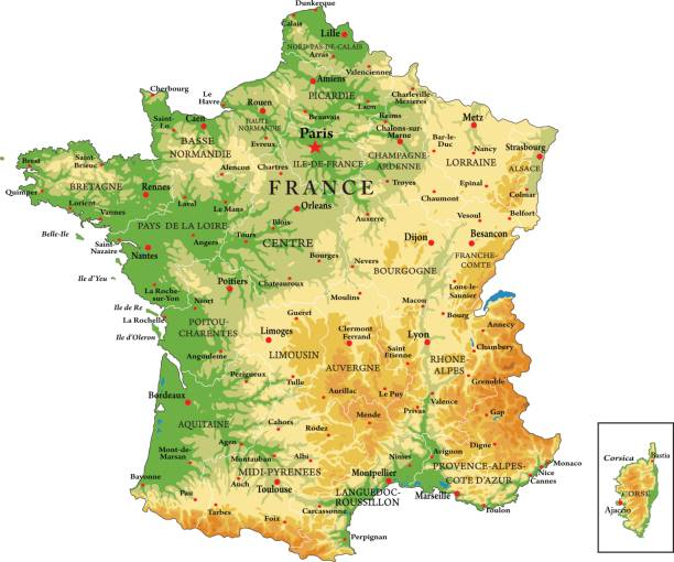 illustrations, cliparts, dessins animés et icônes de france physical map - carte de france