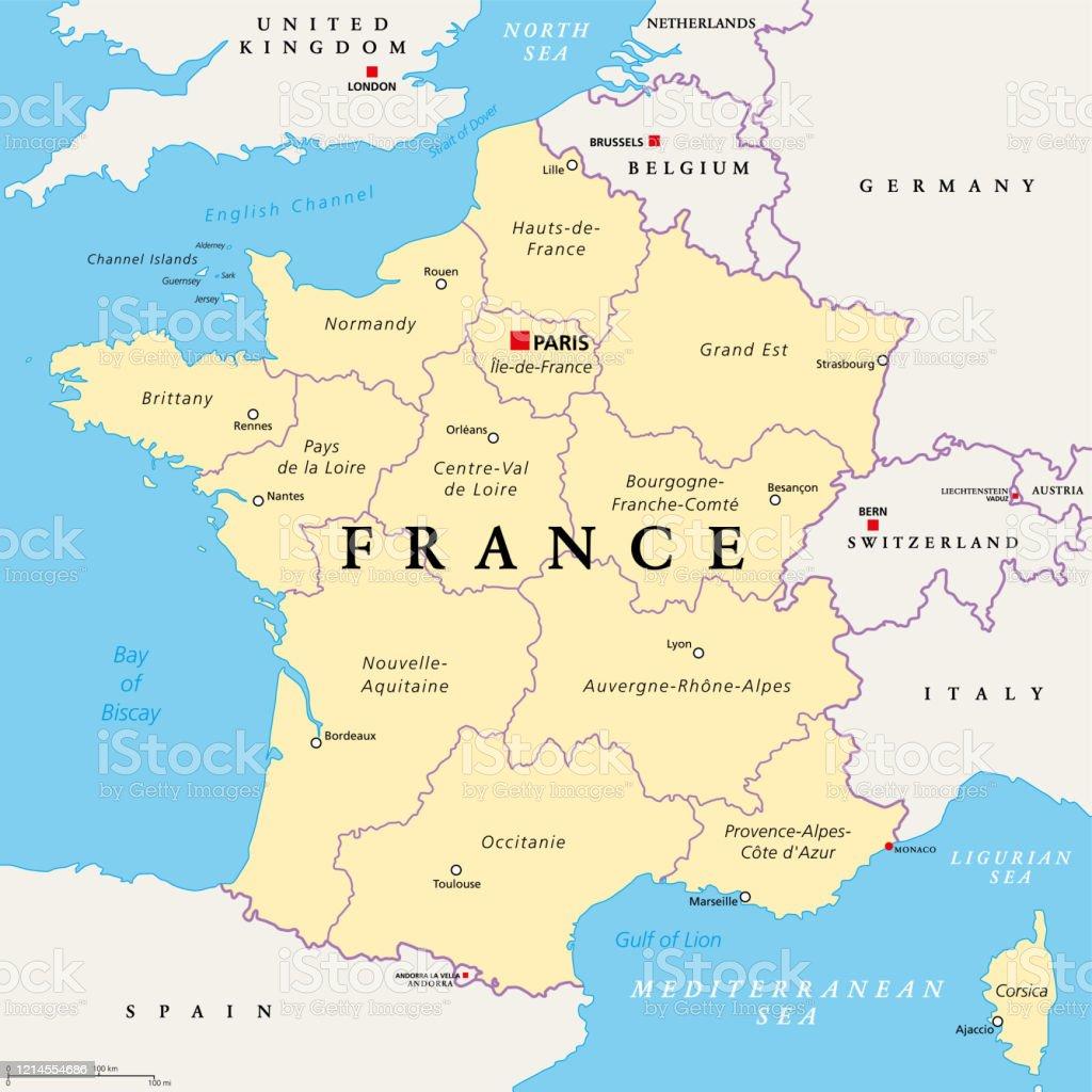 Regioni Della Francia Cartina.Francia Mappa Politica Regioni Della Francia Metropolitana Immagini Vettoriali Stock E Altre Immagini Di Austria Istock