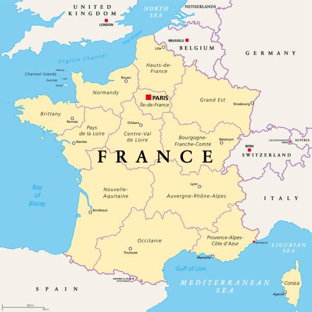 France, political map. Regions of Metropolitan France vector art illustration