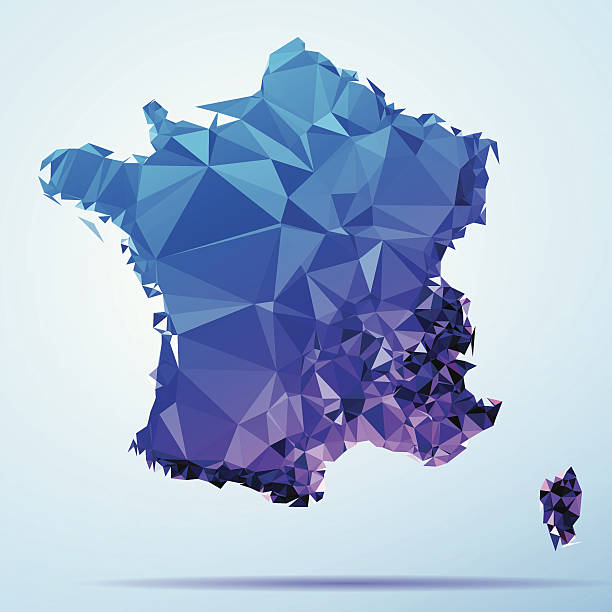 France Polygon Triangle Map Blue Abstract Polygon Triangle vector map of France. File was created in DMesh Pro and Adobe Illustrator on May 22, 2014. The colors in the .eps-file are in RGB. Transparencies used. Included files are EPS (v10) and Hi-Res JPG (5035 x 5035 px). map crystal stock illustrations