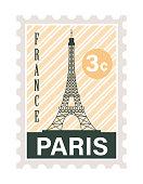 eiffel tower postage stamp icon
