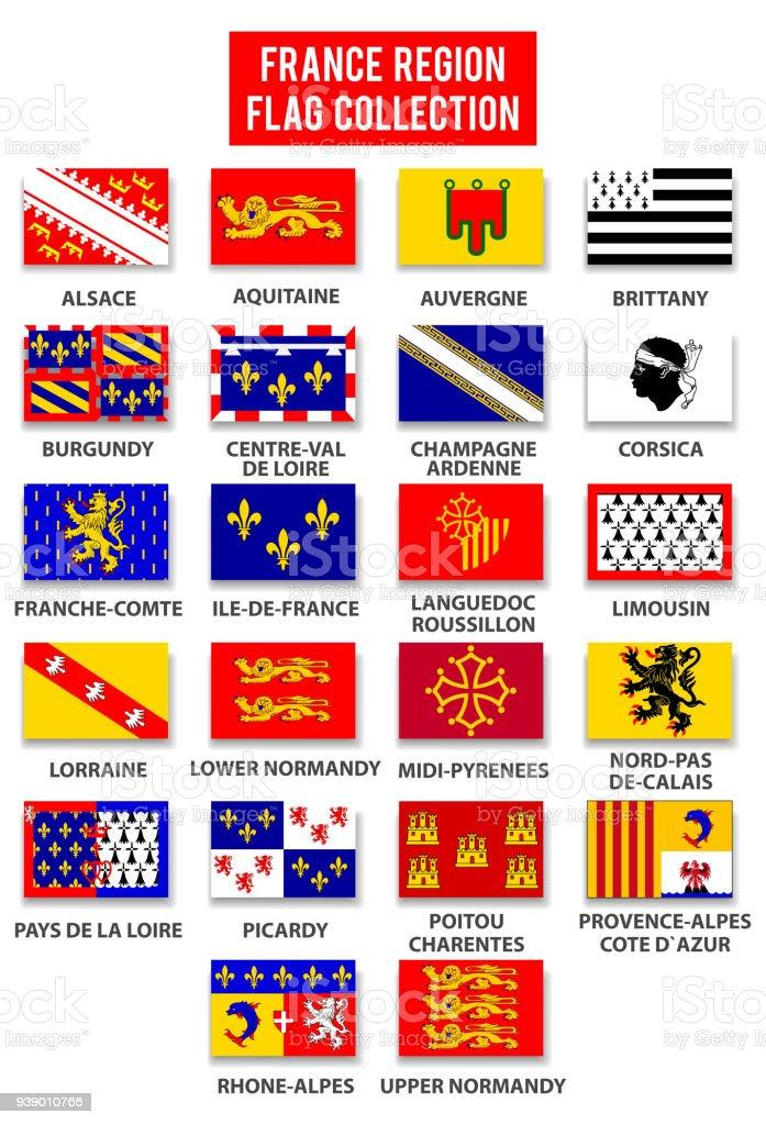 Collection France région drapeau - Complete - Illustration vectorielle