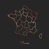 France region map: golden gradient outline on dark background.