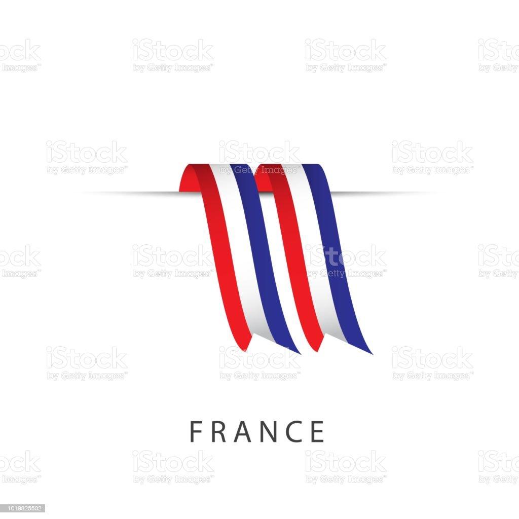 Frankreich-Ribbon-Flagge Vektor-Template Design Illustration – Vektorgrafik