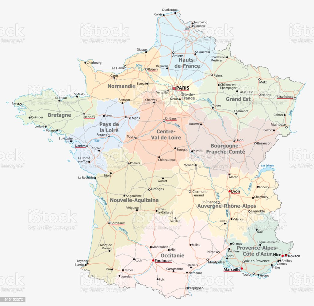 route de France, carte administrative et politique - Illustration vectorielle