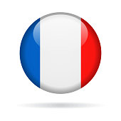 France - Round Flag Vector Glossy Icon