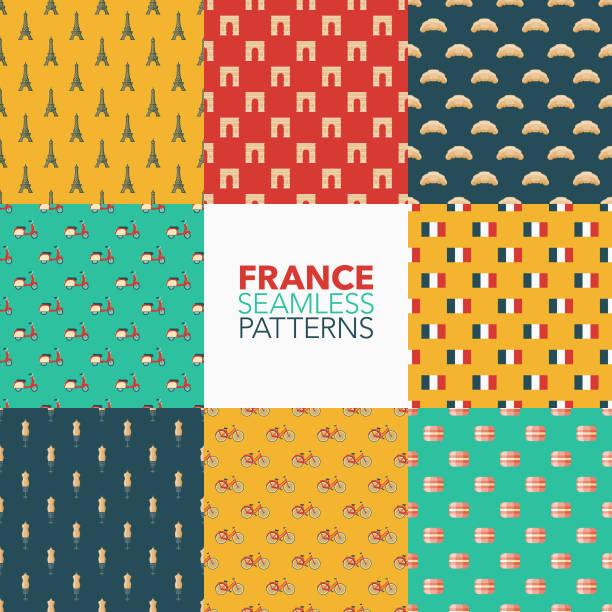 France Seamless Pattern Set vector art illustration