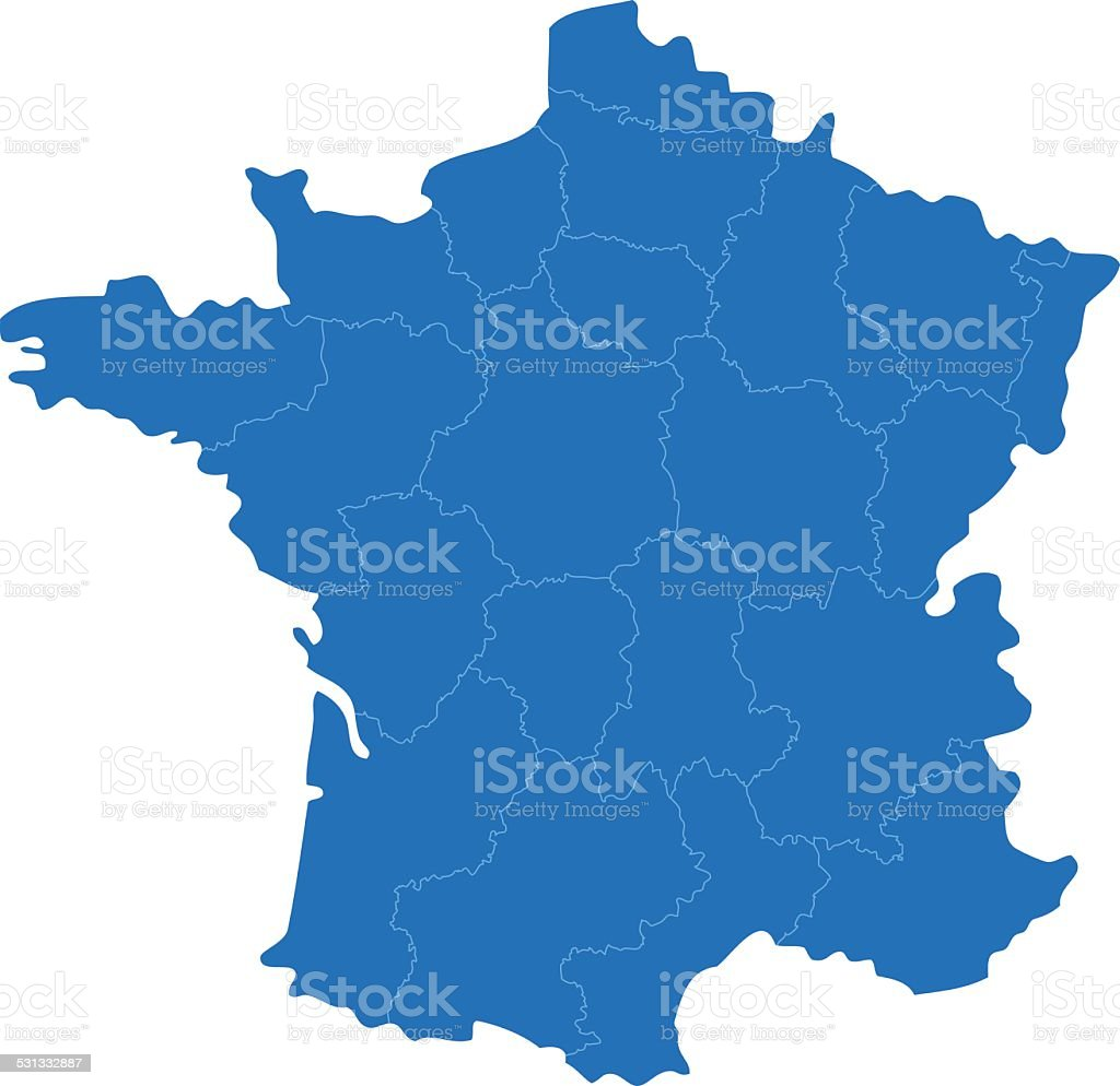 France simple blue map on white background vector art illustration