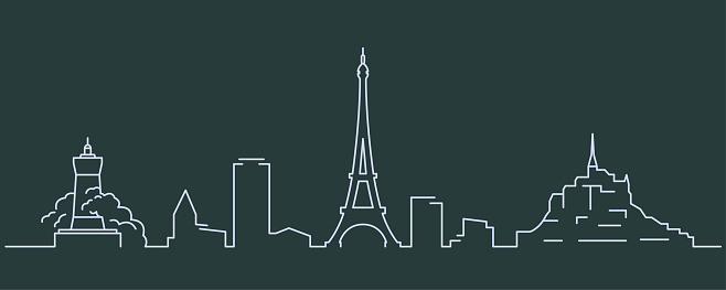 France Simple Line Skyline and Landmark Silhouettes