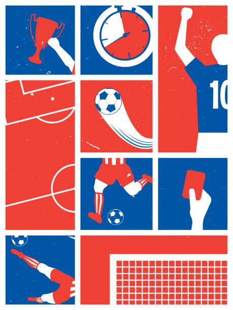 stockillustraties, clipart, cartoons en iconen met frankrijk voetbal/voetbal achtergrond. voetbal retro poster. vector illustratie. - internationale voetbal