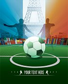 france soccer stadium poster with eiffel tower and player silhouettes