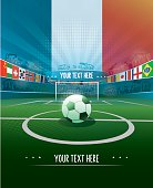 soccer stadium with international flags and the canadian flag, a soccer ball is on the kick off point, copy space for you text,
