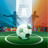 france soccer stadium with eiffel tower and player silhouettes