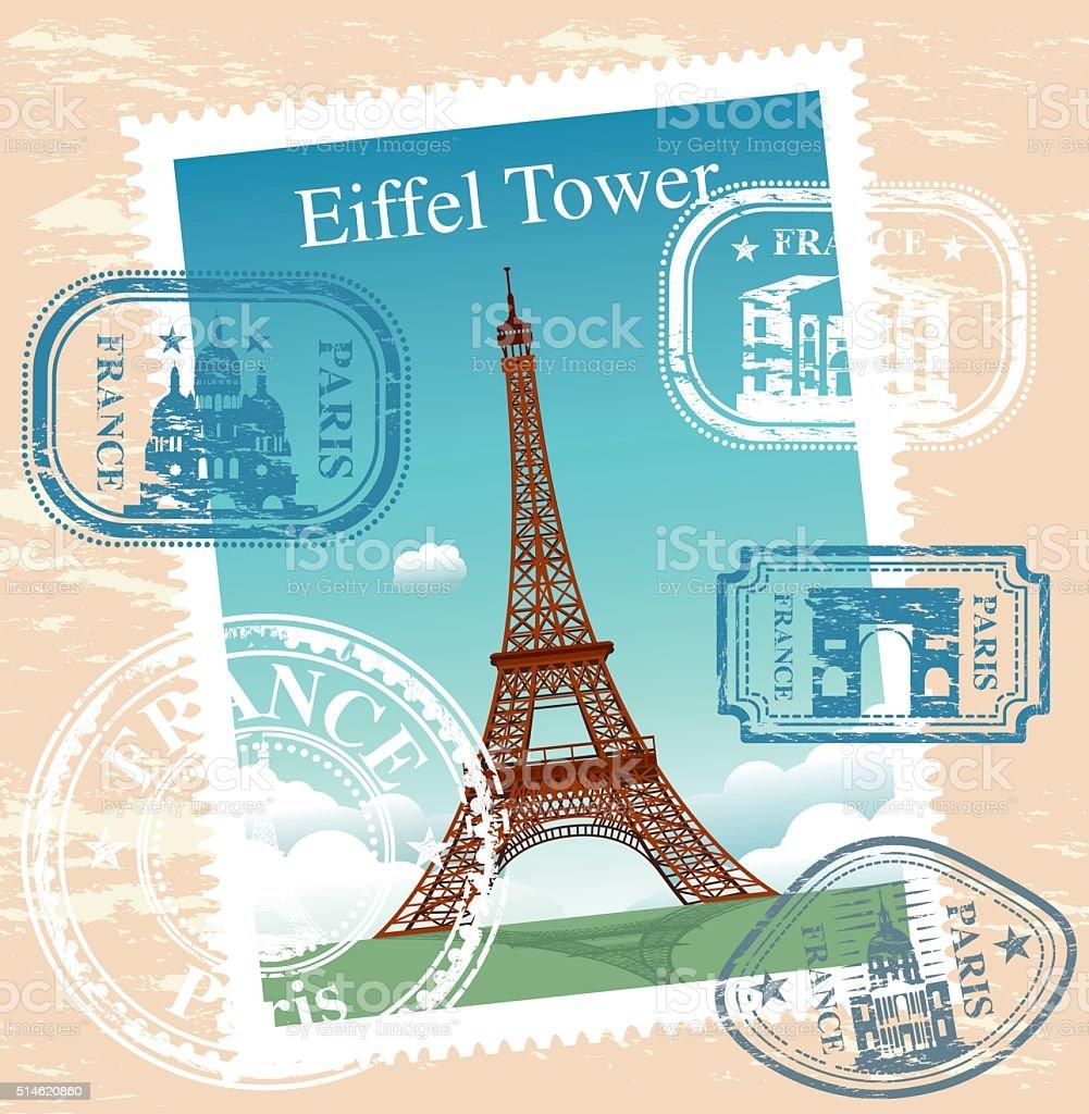 Timbres de France - Illustration vectorielle