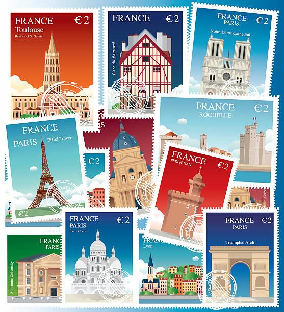 illustrations, cliparts, dessins animés et icônes de timbres de france - nantes