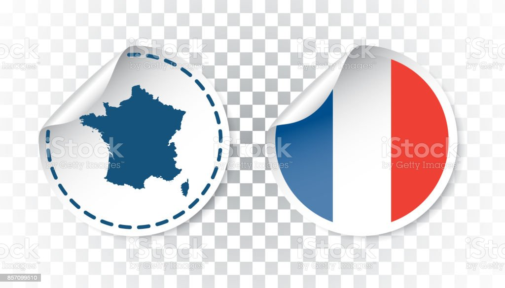 France sticker with flag and map. Label, round tag with country. Vector illustration on isolated background. vector art illustration