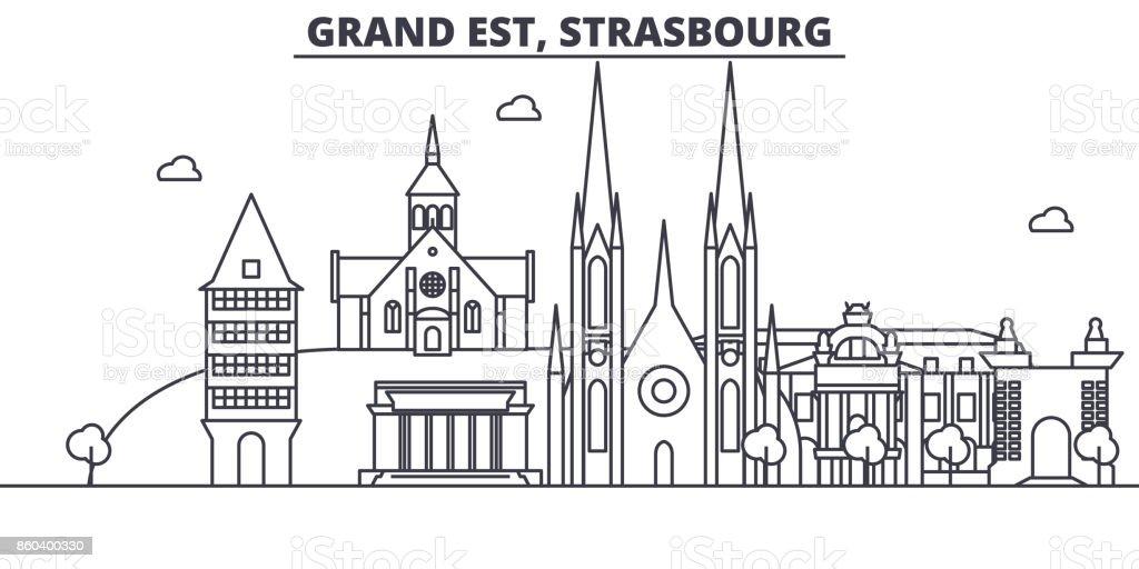 France, illustration de skyline Strasbourg architecture ligne. Cityscape vecteur linéaire avec les monuments célèbres, les sites de la ville, les icônes du design. Paysage avec traits modifiables - Illustration vectorielle