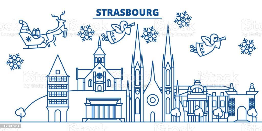 La France, l'horizon de ville Strasbourg hiver. Joyeux Noël, bonne année orné bannière Santa Claus.Winter carte de voeux ligne. Plat, vecteur de contour. Illustration de neige Noël linéaire - Illustration vectorielle