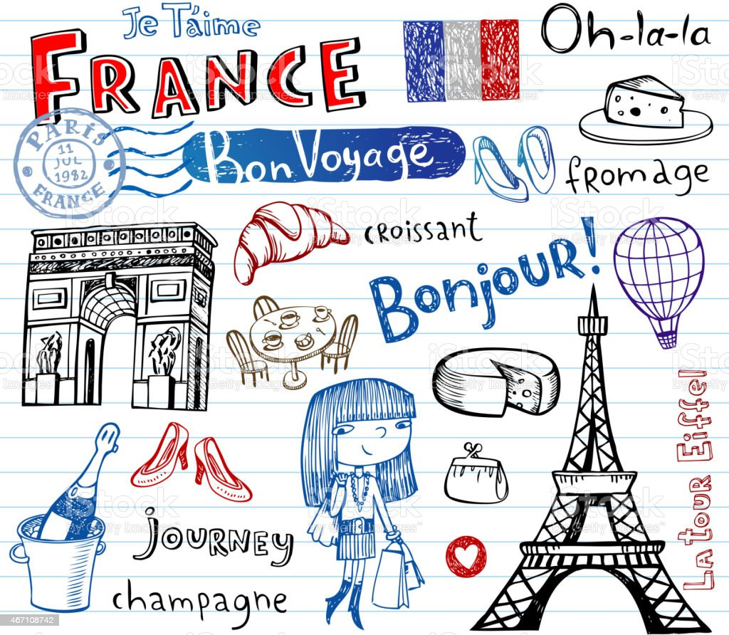 France symbols as funky doodles - Royalty-free 2015 stock vector