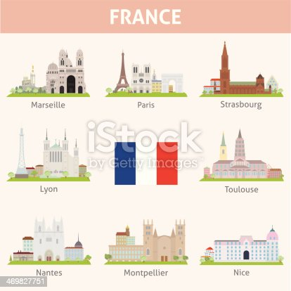 France. Symbols of cities. Vector set