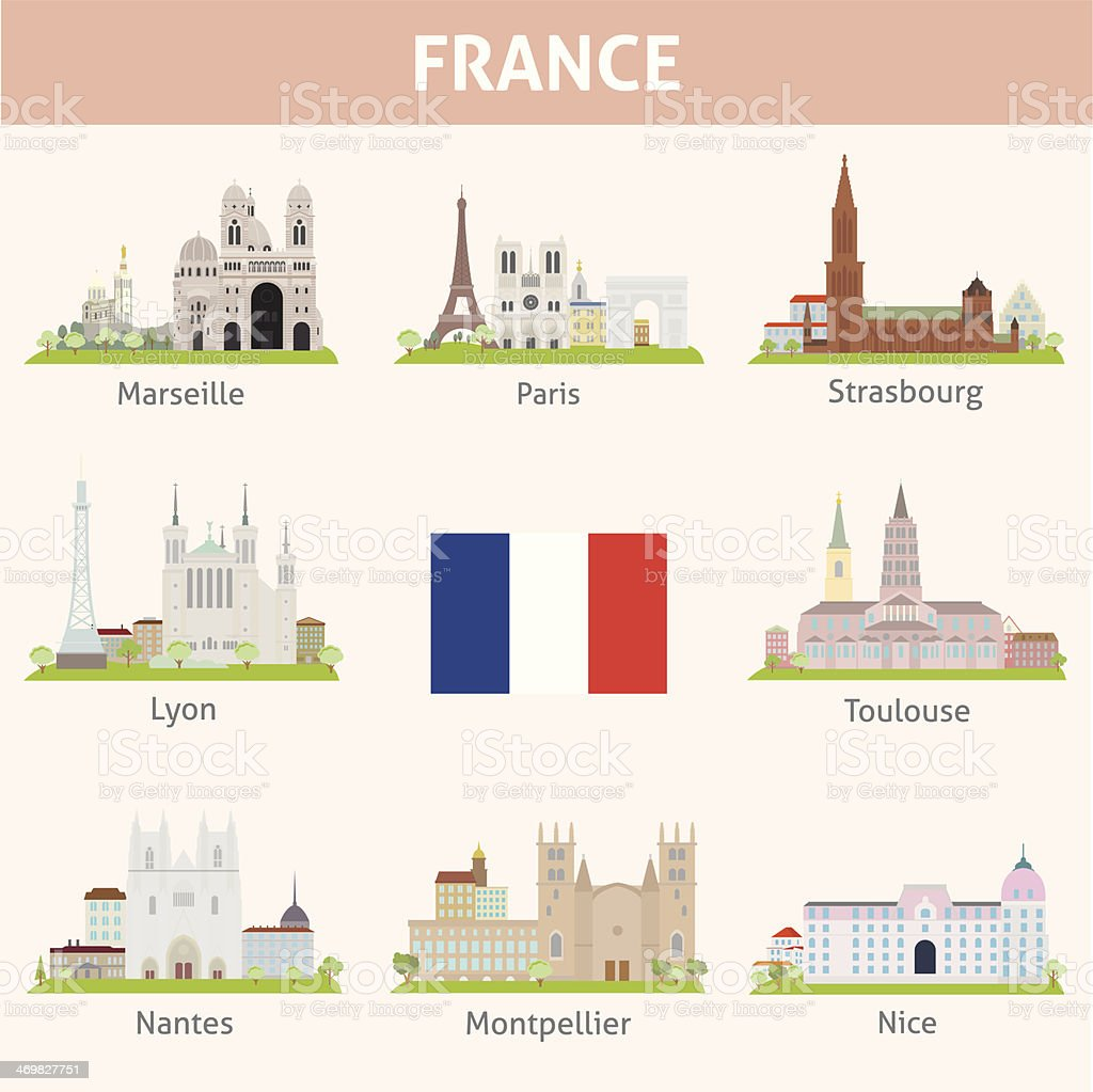 France. Symbols of cities vector art illustration