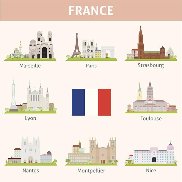 stockillustraties, clipart, cartoons en iconen met france. symbols of cities - marseille